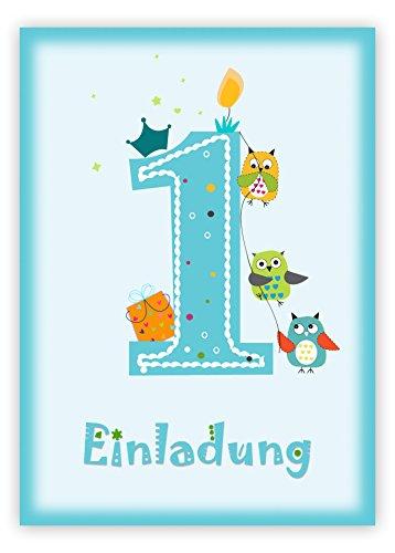 indergeburtstag zum 1. Geburtstag in blau mit Eulen - Geburtstagseinladung mit Eule für Jungs Kinder-Party - Geburtstagsfeier ()