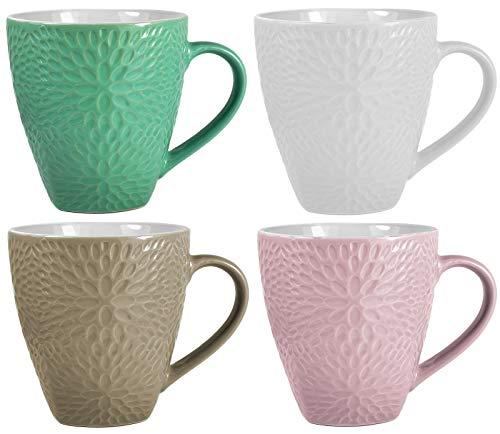 My-goodbuy24 XXL Kaffeebecher Set | 4 Stück | 400ml | Keramik | Strukturdesign | in den Farben türkis, weiß, Hellbraun, rosa - Ideal für Ihr liebsten morgendlichen Kaffeegenuß