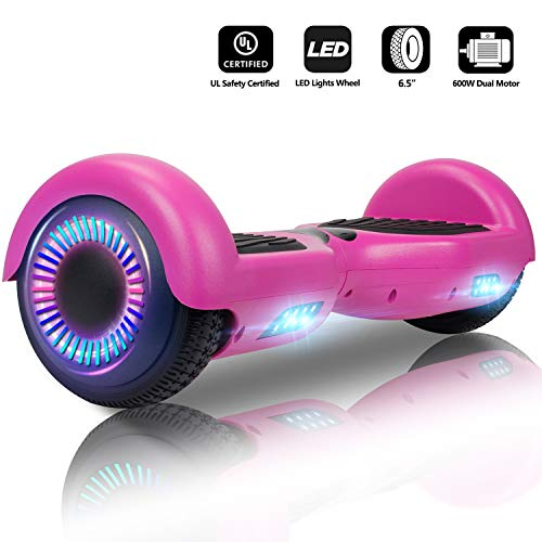 Jolege 6.5 Inch Electric Self Balance Scooter with Colourful LED Lights, 300w Doppelmotor, E-Skateboard E-Scooter, Hoverboard Kinder, Free Carry Bag