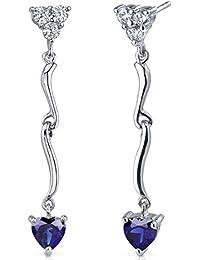 Revoni Amour Brillant - Boucles d'oreilles pendantes avec Oxyde de Zirconium et Saphir Bleu coeur 2,00 cts. - Inspiration pour femme - Argent Fin 925/1000