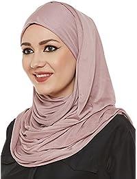 Momin Libas Women's Viscose Jersey Hijab (HCT37617A_Dusty Rose_Free Size)