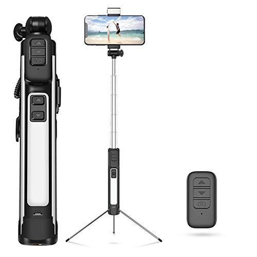 ZMXZMQ Selfie Stick Professionale, Treppiede, Telecomando Bluetooth, Luci di Riempimento LED Bidirezionali Stereo, Stick per Selfie 4 in 1 E Ampiamente Compatibile,Black