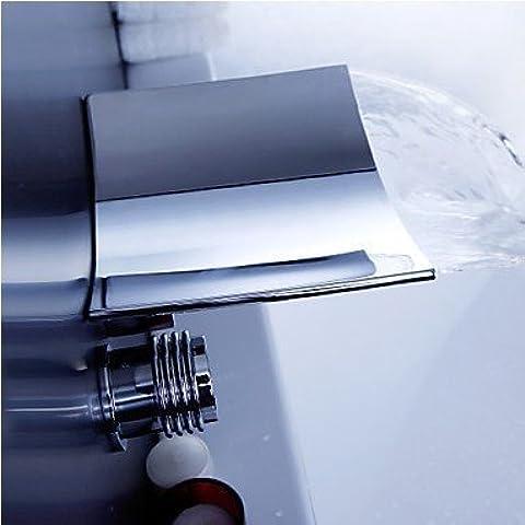 Grifo de agua montado en pared TougMoo cascada grifo doble empuñadura generalizada de latón cromado Cuenca cascada grifo bañera