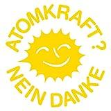 Atomkraft? Nein danke! Aufkleber Sticker Logo 10 x 10 cm gelb 2ER SET