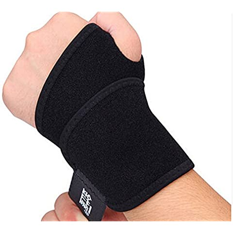 Yosoo Breathable Elastic Neoprene Protective Protector Compression Wrist Sleeve Band Wrap Wraps Hand Bar Brace Gloves Palm Thumb Spica Guards Guard Support Protecting Grip Pads, Black (Pack of 2)