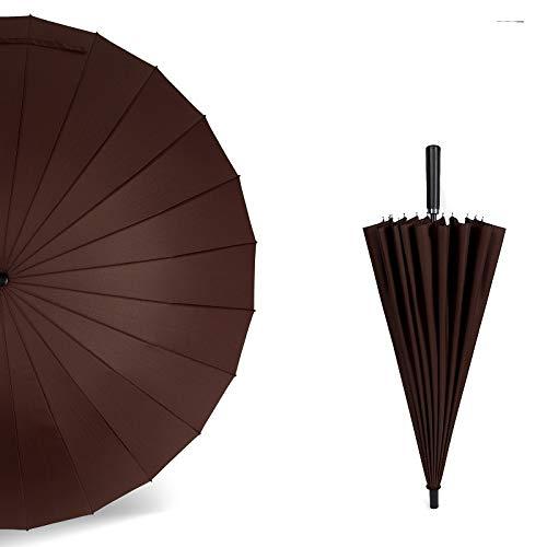 XYQY Regenschirm Großer Regenschirm Für Männer Regenschirme Frauen Winddicht Männlichen Spazierstock Leder Golf Sonnenschirme Bunten Sonnenschirm ZuckerrohrKaffee -
