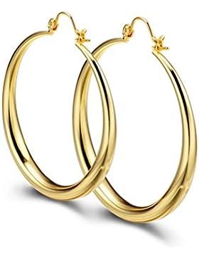 PAKSHO 9ct Gold Creolen 50mm große kreolische Ohrringe für Frauen Gelbgold plattiert