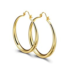 Idea Regalo - PAKSHO, orecchini a cerchio in oro giallo da 14 carati, diametro: 50mm, da donna