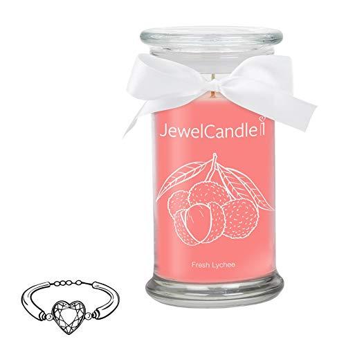 Jewelcandle fresh lychee - candela profumata in vetro con un gioiello (braccialetto in argento sterling 925)