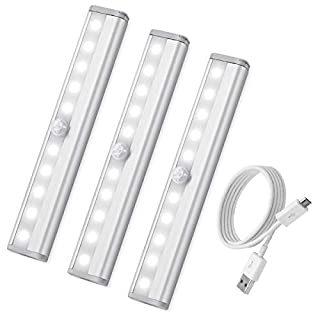 Criacr Motion Sensor Light Bar, (10 LED, 3 Pack) Rechargeable Sensor Wardrobe Light, Portable LED Closet Night Light with Stick-On Magnetic Strip for Closet Cabinet, Stairs, Drawer, Wardrobe