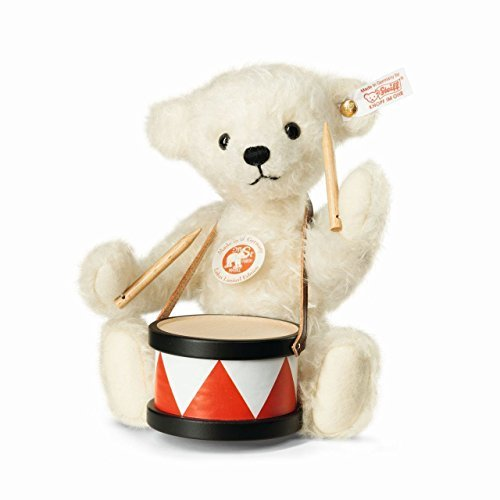Steiff Mohair Lukas White Teddy Bear with Drum Limited Edition of 1500 by Steiff