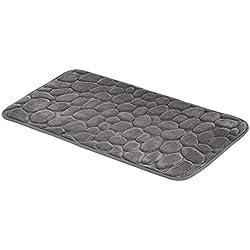 AmazonBasics Tapis de bain en mousse à mémoire de forme Motif pierre - Gris, 50x80cm
