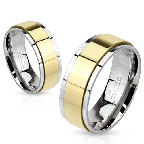 """Paula & Fritz anello in acciaio argento oro anello girevole """"Spinner"""" lucido disponibile anello misure 47 (15) (23) - 72, Acciaio inossidabile, 23, cod. R-H1659-11"""
