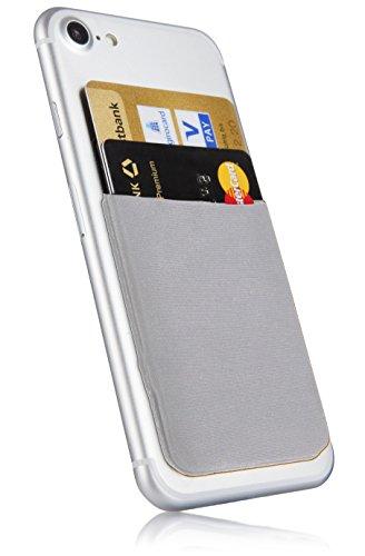 MyGadget Kartenhalter für Smartphones - RFID Blocking Haftendes Kartenfach, Kartenhülle, Karten Halterung - Geldbörse fürs Handy Etui Wallet in Silber