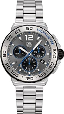 Formula 1 Moto Racing Chronograph Stainless Steel Case and Bracelet Gray Tone Dial Date Display