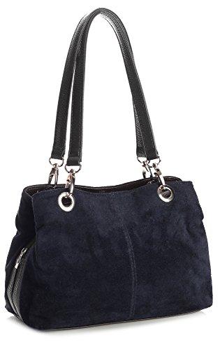 Big Handbag Shop kleine Damen Umhängetasche mit mehreren Reißverschlusstaschen aus Wildleder Deep Navy - Black Trim