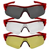 VeloChampion Warp Cycling Running Sports Sunglasses- Red