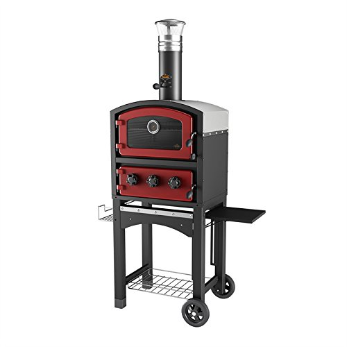 Fornetto Wood Fired Oven and Smoker - Outdoor Pizza Oven - RED