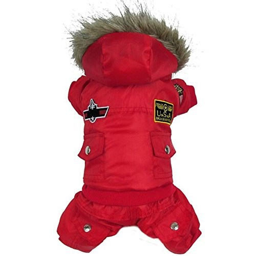 Winter Hundemantel Jacke USA Air Force Pet Hoody Kleidung für kleine Warm Puppy Medium Pet Pin Jumpsuit mit Kapuze air-force Trench Schneeanzug Sweatshirts Hund Bekleidung Outfits rot winddicht Coats (Fleece Hoodie Trim)