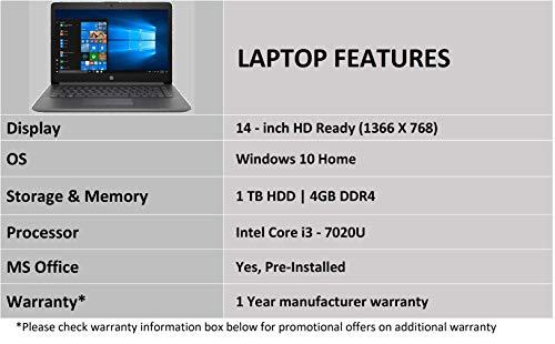 HP 14 Core i3 7th gen 14-inch Thin and Light Laptop (4GB/1TB HDD/Windows 10 Home/MS Office/Smoke Grey/1.59 kg), 14q-cs0014TU Image 5