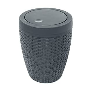 Addis Faux Rattan Round Swing Lid Bathroom Bin, Charcoal, 5 Litre