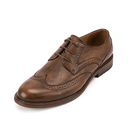 Mingdan water Scarpe da Uomo in Pelle Oxford, Scarpe da Uomo in Pelle intagliata Vintage, Scarpe da Uomo Vecchie Fatte a Mano per Scarpe da Uomo da Lavoro per Banchetti,a,43