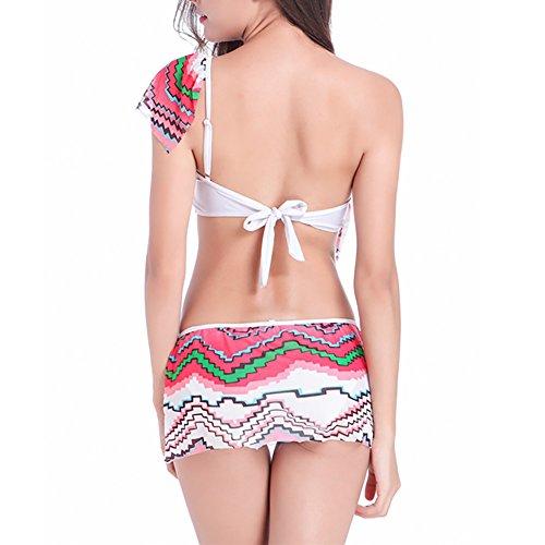 Uskincare Damen Bikini Bademode Flouncing Schulter Badeanzüge Bikinis für Frauen Bikinioberteil 1-Rote