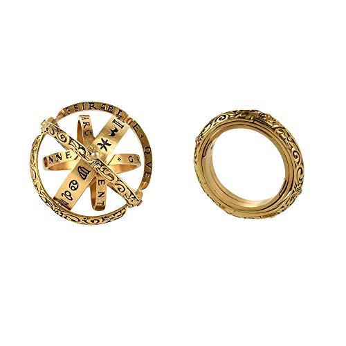 SHIDEDIAN Astronomische Kugel aus dem 16. Jahrhundert Kugelring Kosmische Fingerringe Paarliebhaber Öffnen und Ring verschmelzen Entfaltet Sich zur astronomischen Kugel
