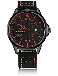 Naviforce Men's Analog Round Dial Rubber Hook Buckle Band 10M Quartz Movement Watch (9074A)