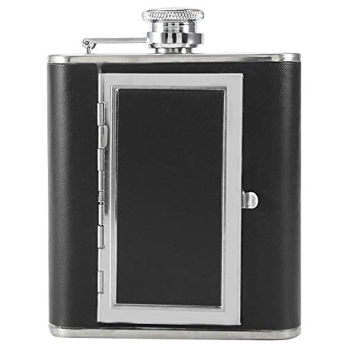 02 Alkohol (Haofy Portable Edelstahl Alkohol Wein Alkohol Flagon Flasche Kreative Mode Zigarettenetui Halten 5 Regelmäßige Zigaretten(Schwarz))