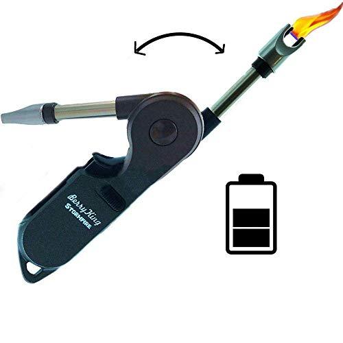BerryKing Stormfire 2019 USB Feuerzeug mit Kindersicherung Lichtbogen elektrisch aufladbar für Kerzen Kamin Anzünder Grillen Camping Outdoor elektrischer Strom Sturmfeuerzeug Stabfeuerzeug (Silber)