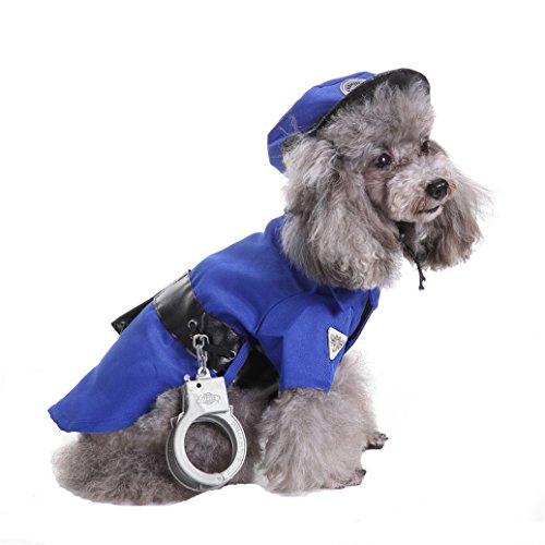 Supplies Party Polizei (aaa226Pet Puppy Polizei Anzug Kostüm Hat Handschellen Apparel Party Hund)