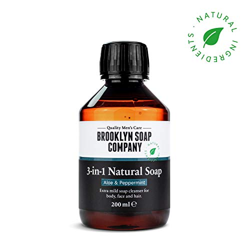 Veganes Shampoo und Duschgel 3 in 1 mit Aloe Vera ✔ Naturseife Hair + Body & Face (200 ml) Naturkosmetik der BROOKLYN SOAP COMPANY ® ✔ Geschenkidee als Geschenk für Männer