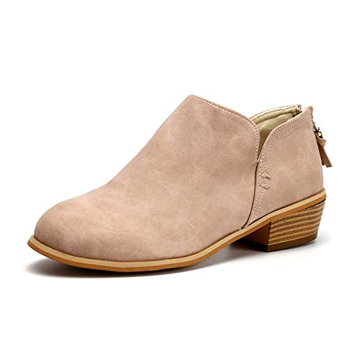 Botines Mujer Tacon Medio Planos Invierno Tacon Ancho Piel Botas Botita Moda 3cm Casual Planas Zapatos...