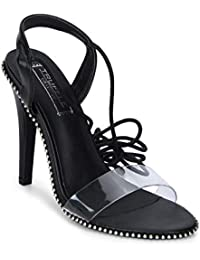 TRUFFLE COLLECTION Women's RITA503 Black PU Fashion Sandals