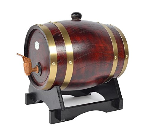 Mkuha Horizontal Holz Weinfass Spender Kiefer,Aluminiumfolie Liner(Dunkelrot), 30L -
