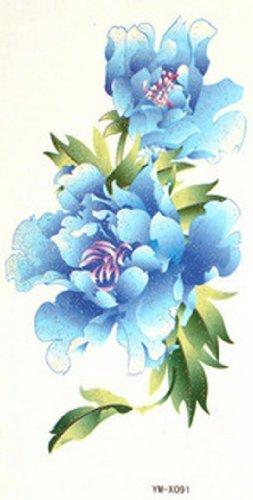 SPESTYLE wasserdicht ungiftig temporäre Tätowierung stickersThe zarten Duft der Pfingstrose blau temporäre Tattoos gemalt wasserdicht - Blau Duft