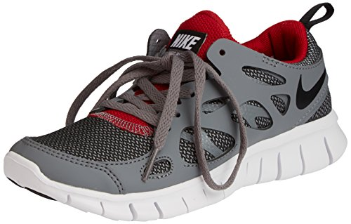 Nike Free Run 2, Chaussures de running entrainement mixte enfant Gris - Grau (Wolf Grey/Black-Gym Red-White 035)