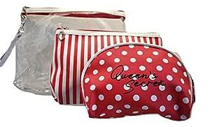 BeautyQua Plastic Travel Toiletry Bag (Red)