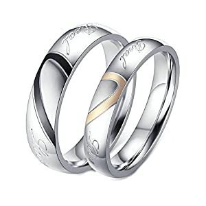 Adisaer Partnerring Titan Weissgold Eheringe Ehering Edelstahl Paar Ringe Silber Ring Halb Herz Real Love Ringe Größe 45 (14.3)-74 (23.6) 1 Paar/2 Pcs Hochzeit