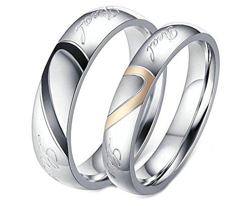 Verlobungsring Weißgold Ringe Männer Zelda Paar Ringe Edelstahl Ehering Silber Ring Halb Herz Real Love Herrenring Größe 62 (19.7) Damenring Größe 60 (19.1) Hochzeit Bilsfille