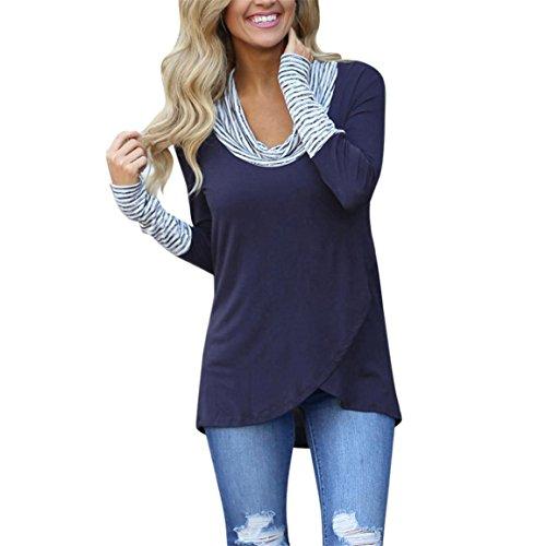 Moonuy,Hemd Damen elegant,Hemd schwarz,Damen Langarm Pullover, Damenmode O-Ausschnitt Streifen Sweatshirt Pullover Solid Tops Baumwolle Bluse attraktives Shirt (EU 36 / Asien M, Blau) -