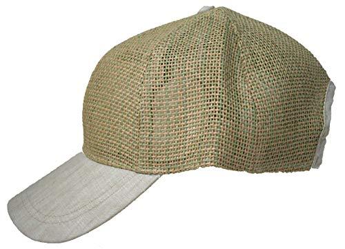 Basecap Strohkappe Damen Herren Strohmütze Stoffschirm uni (One size, Beige) -