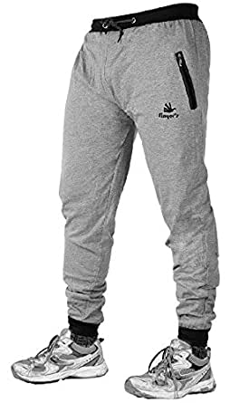 Finger's Men's Cotton Ribbed Track Pants With Zipper Pockets (40, Melange Grey-Black)