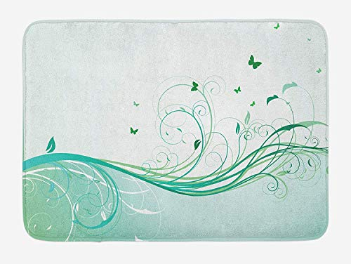 JIEKEIO Turquoise Bath Mat, Illustration Floral Victorian Style Curvy Lines Wave Butterfly Design, Plush Bathroom Decor Mat with Non Slip Backing, 23.6 W X 15.7 W Inches, Mint Green Pale Green -
