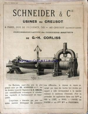 INDUSTRIE TEXTILE (L') [No 3] du 10/09/1887 - SCHNEIDER AND CIE - USINE DU CREUSOT - G.H. CORLISS