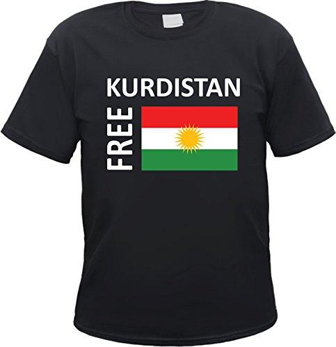 HB_Druck Free Kurdistan T-Shirt - kurdisch - Flagge Schwarz XL