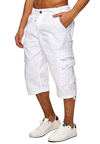 Herren Cargo Shorts Kurze Jeans Bermuda Hose H1741 Weiß