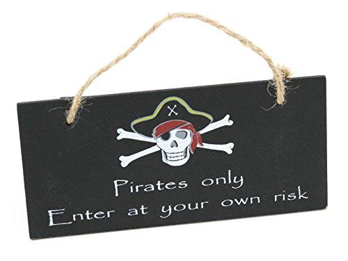 Ghost House Flag (Holz Schild Aufhängen Pirat Wand 13cm x 6cm verschiedene Designs, holz, Enter at Your Own Risk, 13cm x 6cm)