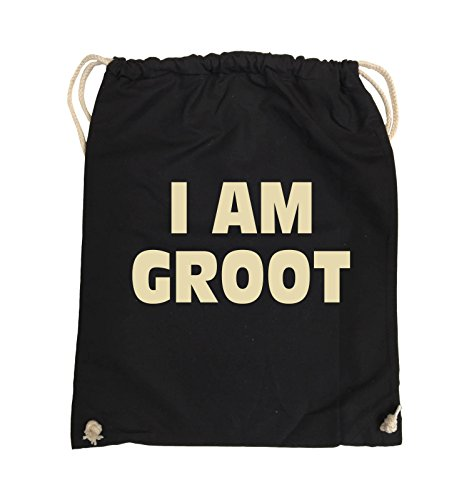Borse Comiche - Io Sono Groot - Logo - Turnbeutel - 37x46cm - Colore: Nero / Argento Nero / Beige